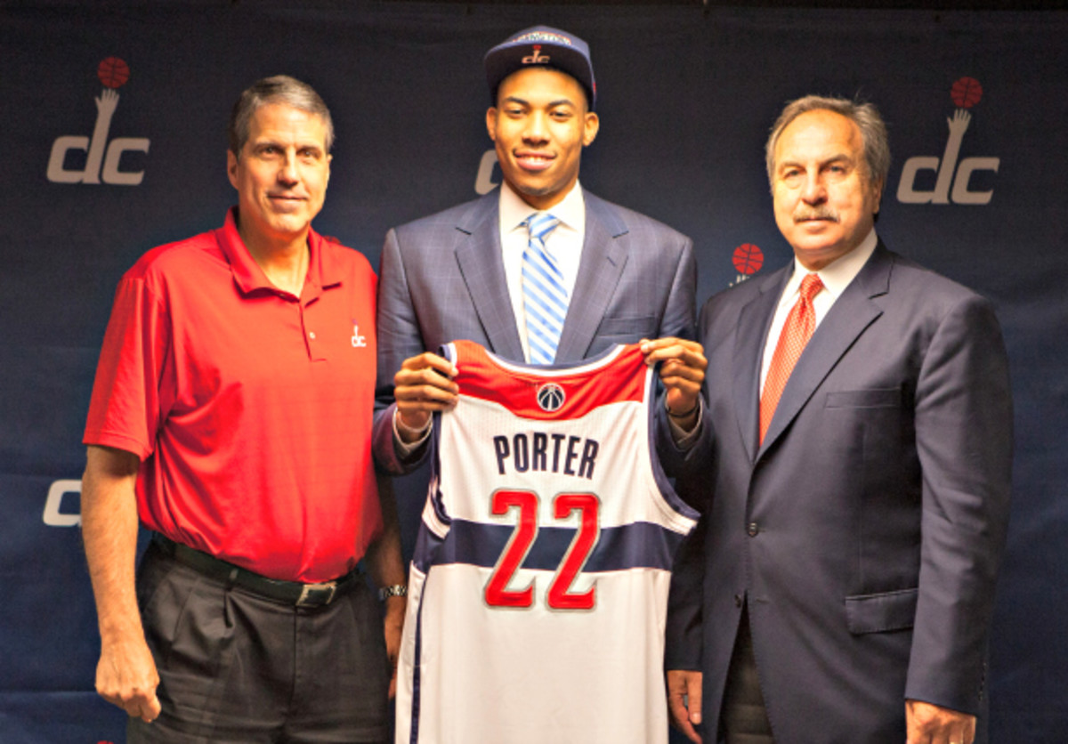 """Wizards coach Randy Wittman (left) says he """"hasn't coached"""" No. 3 overall pick Otto Porter Jr. yet. (Stephen Gosling/NBAE via Getty Images)"""