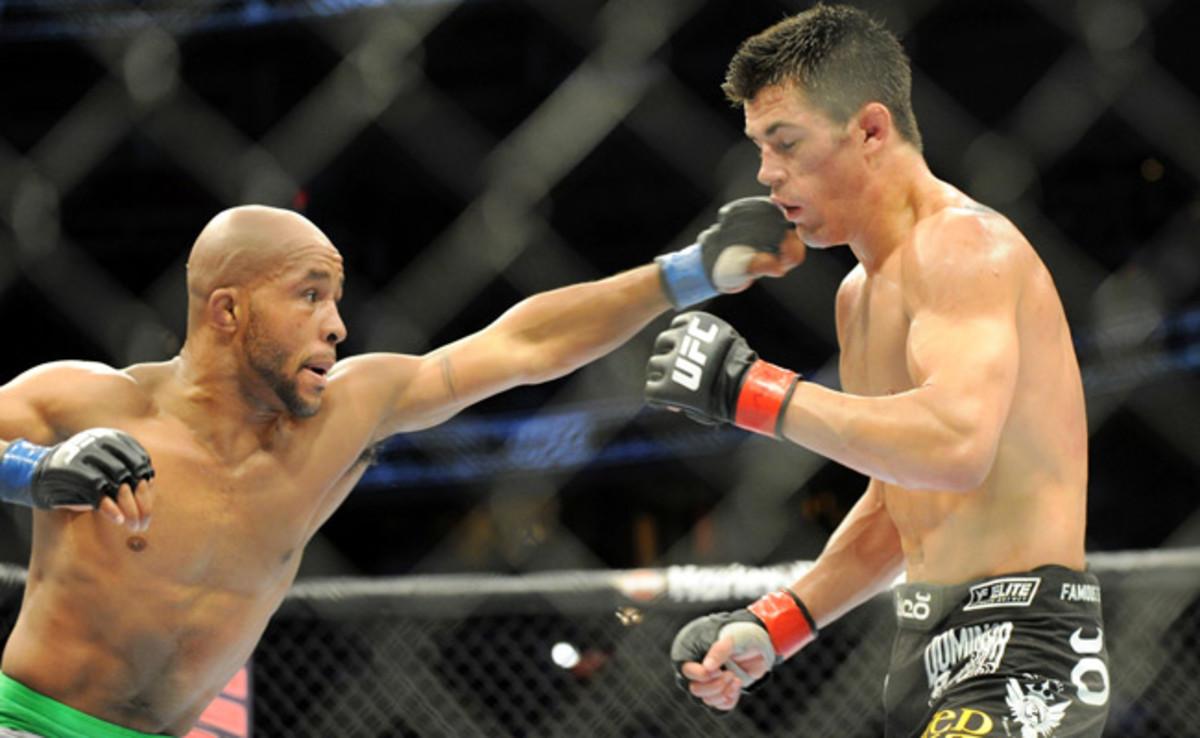 Demetrious Johnson (left) was defeated by Dominick Cruz in Dec. 2011, Johnson's last loss.