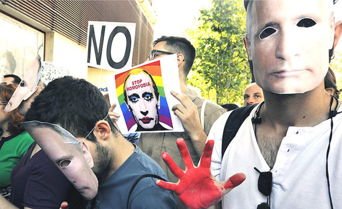 Russia's anti-gay law, signed by President Vladimir Putin, has made made him the target of protests against homophobia around the world.