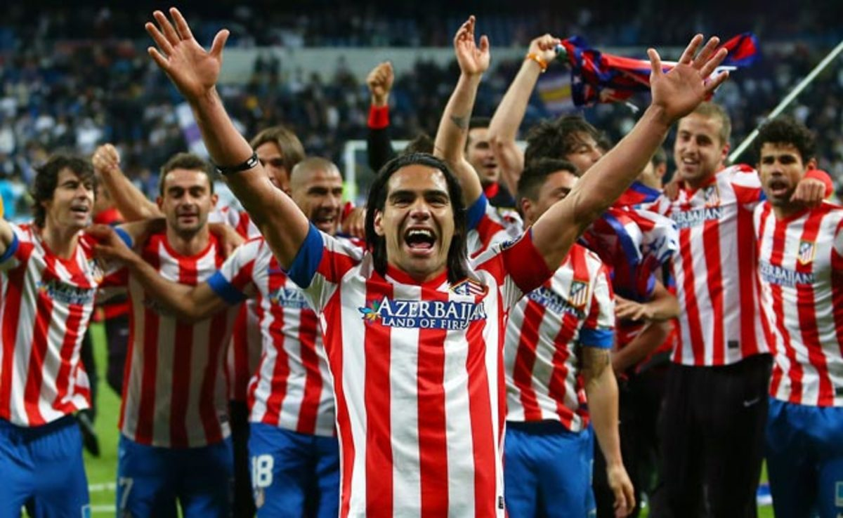 Radamel Falcao celebrates after Atletico Madrid defeated Barcelona to win the Copa del Rey.