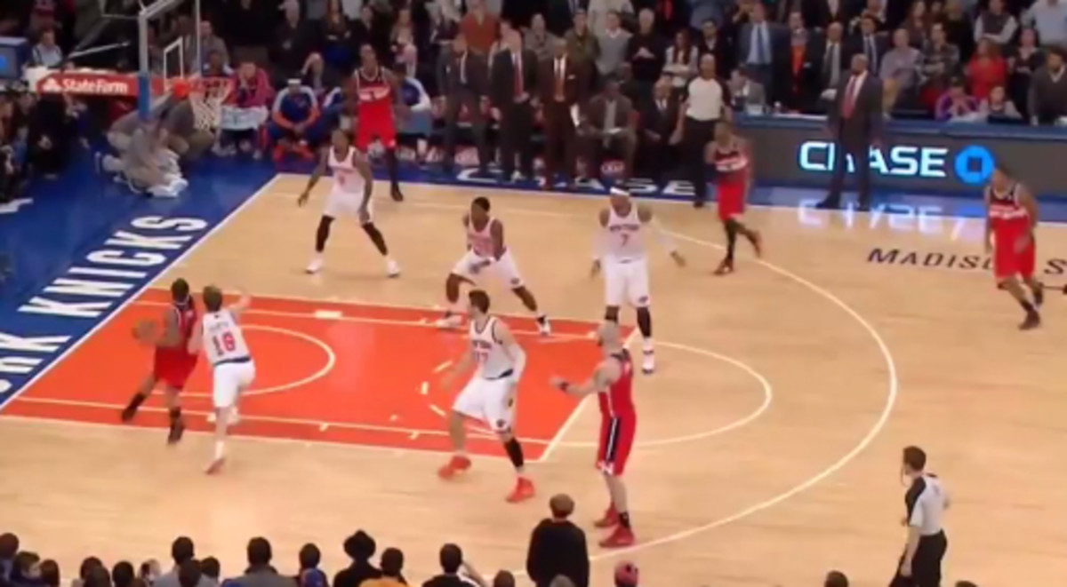 New York's rim was entirely unprotected during Bradley Beal's game-winner. (MSG Network)