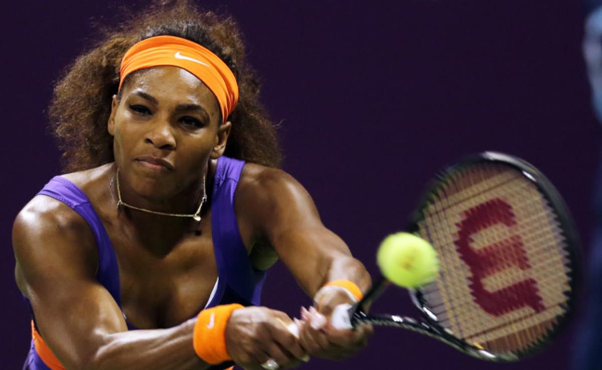 Serena Williams defeated Maria Sharapova at the Qatar Open and will face Victoria Azarenka in the finals.