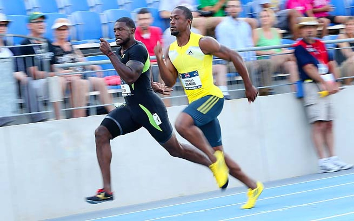 Justin Gatlin (left) is a favorite to make the U.S. world championships team in the 100 meters.