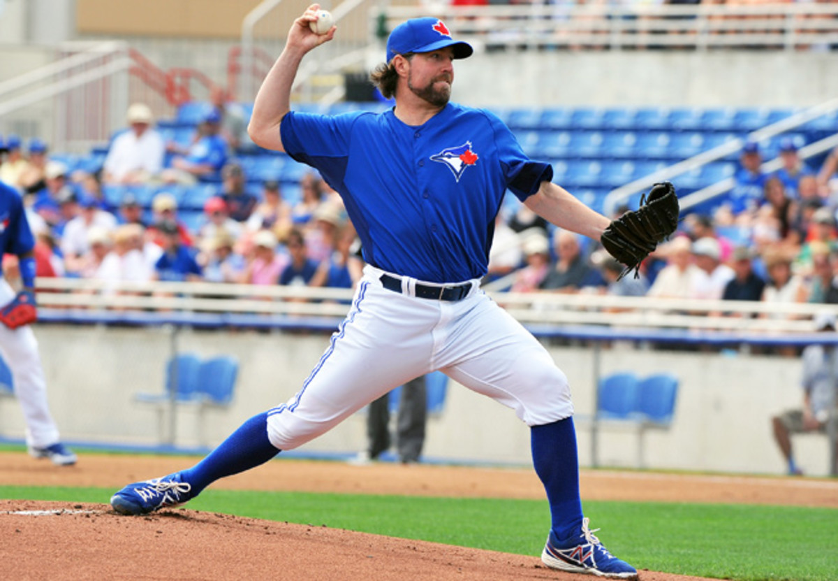 After going 20-6 last season with the Mets, R.A. Dickey made his first start with the Blue Jays on Monday.