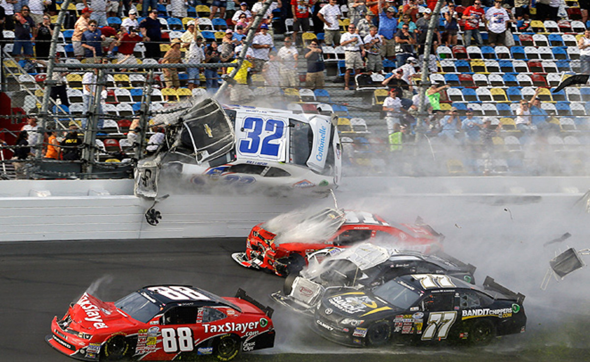 Several fans were front seat witnesses to Kyle Larson's wreck in the Nationwide race at Daytona.