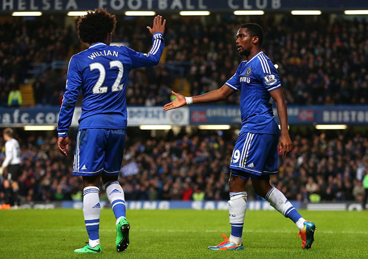 Samuel Eto'o (right), Willian and their Chelsea teammates are dealing with a brutal holiday schedule.