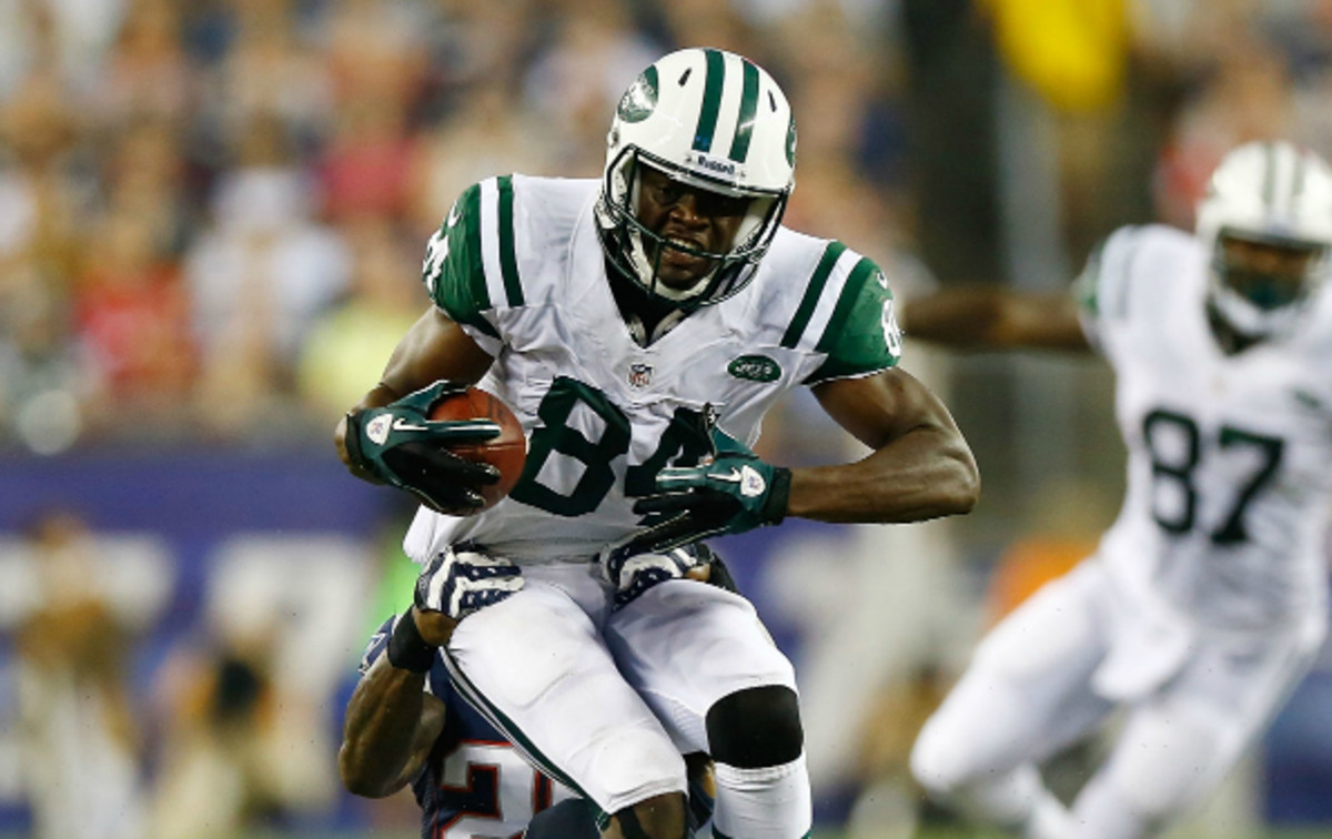 Jets' WR Sephen Hill was concussed on the second play of Sunday's game.