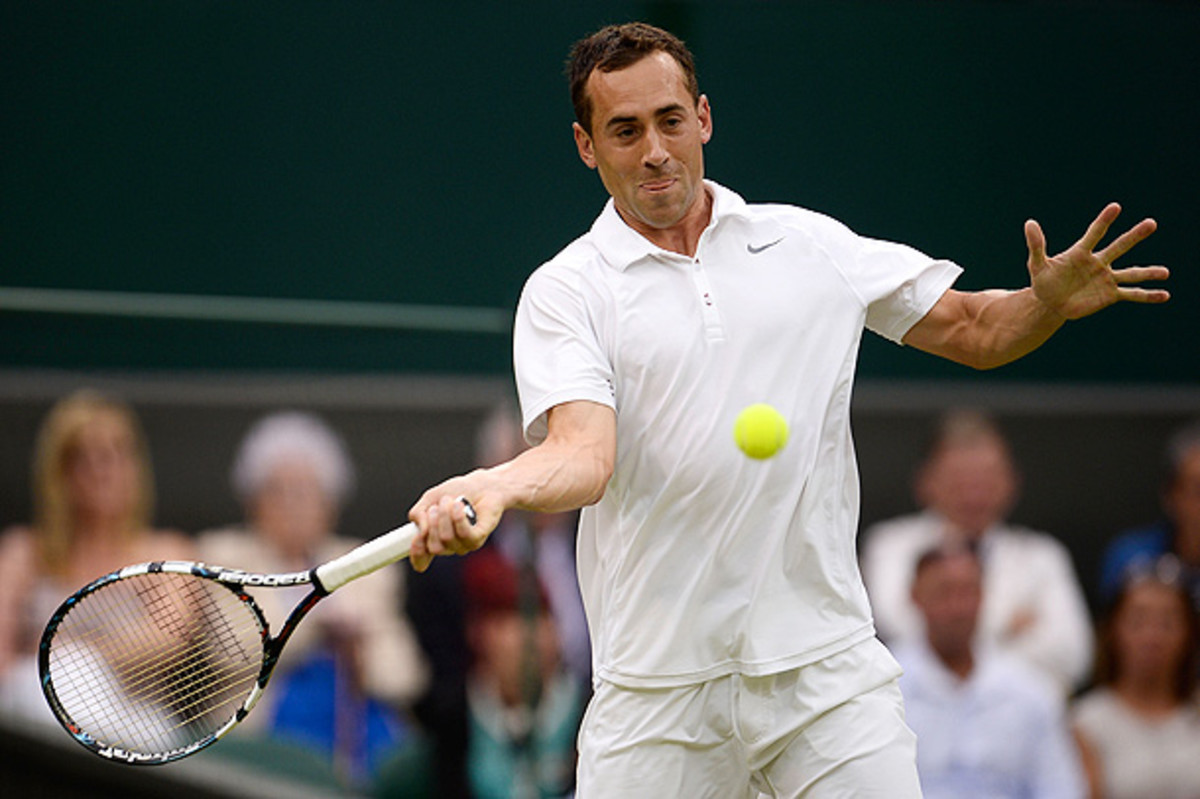 Bobby Reynolds, who was beat by Novak Djokovic, was the last hope for an American man to make it to the third round at Wimbledon. (Dennis Grombkowski/Getty Images)