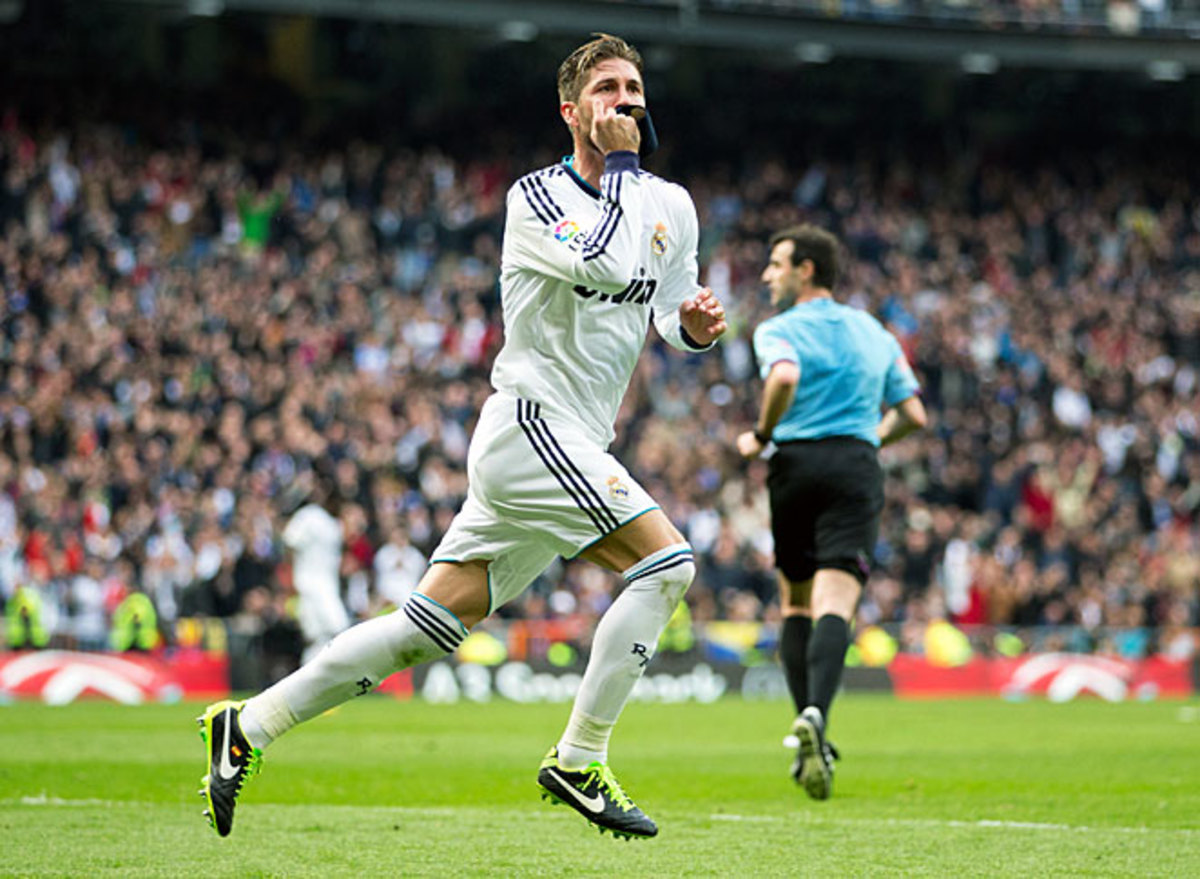 Real Madrid's Sergio Ramos celebrates after scoring the winning goal vs. Barcelona in the 82nd minute.