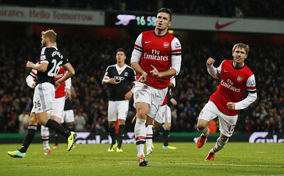Olivier Giroud scored both goals as Arsenal defeated Southampton 2-0 at the Emirates Stadium.