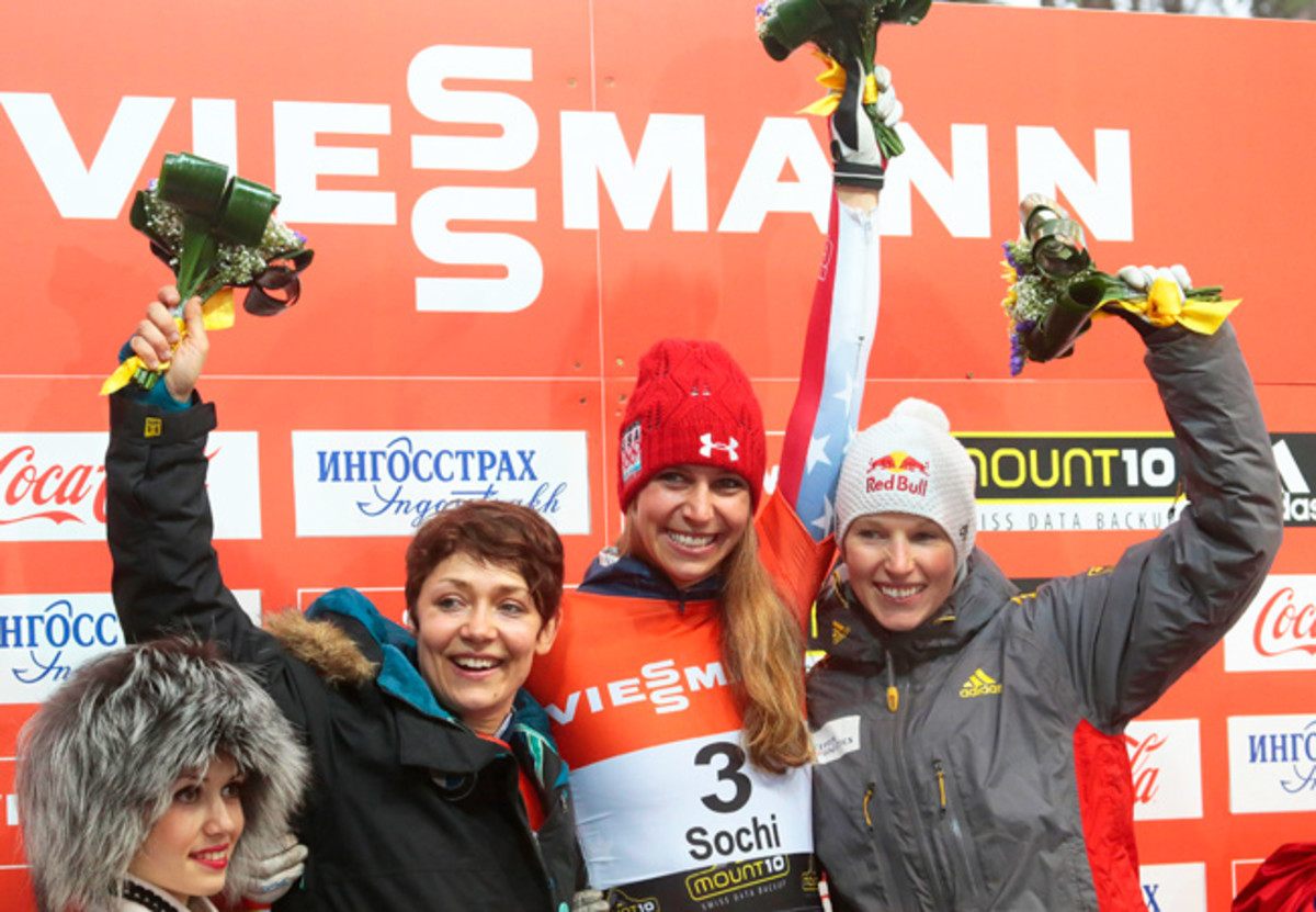 Americans Noelle Pikus-Pace (C) and Katie Uhlaender (L) finished 1-2 in the World Cup skeleton event in Sochi.