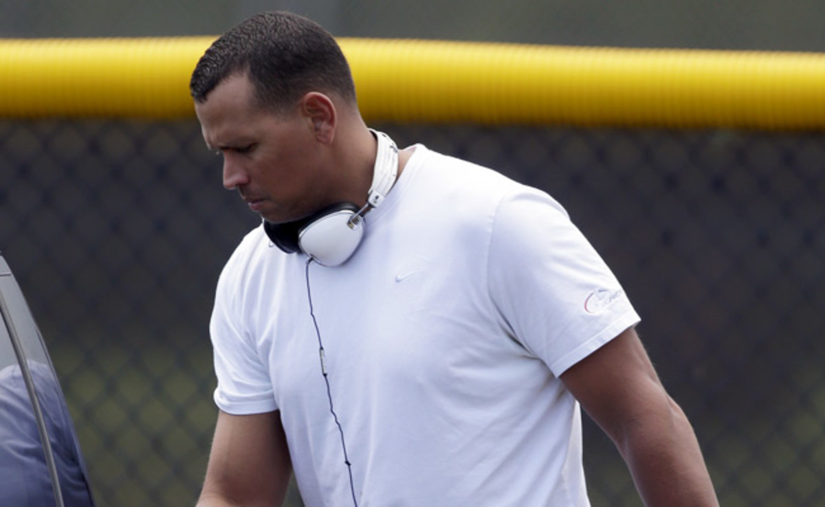 Alex Rodriguez leaves the Yankees' minor league complex in Tampa after a rehabilitation workout.
