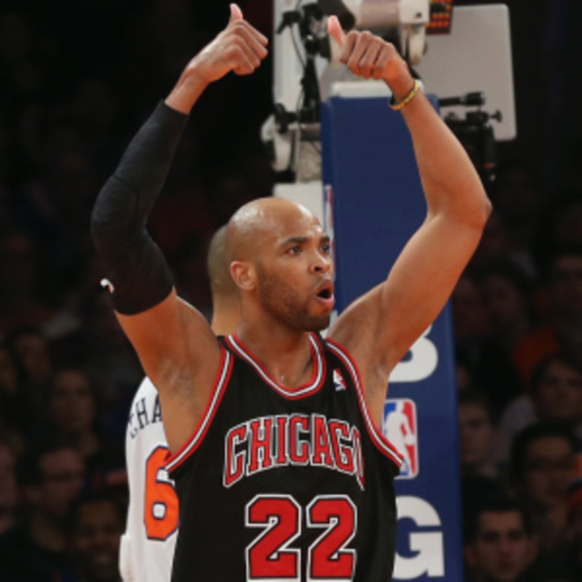 Taj Gibson is expected to miss up to two weeks for the Bulls with a sprained MCL. (Bruce Bennett/Getty Images)