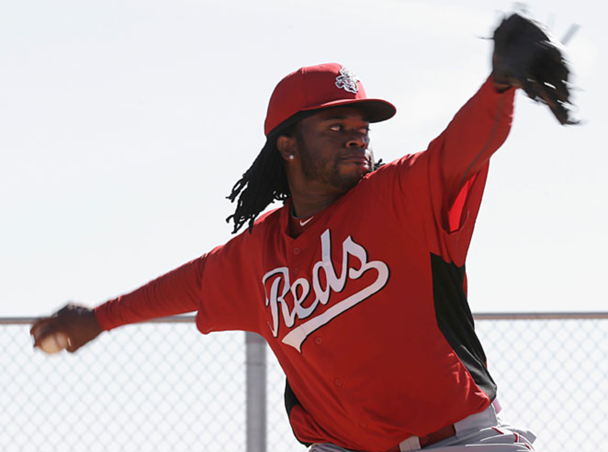 Johnny Cueto strained his shoulder in the Division Series last year.