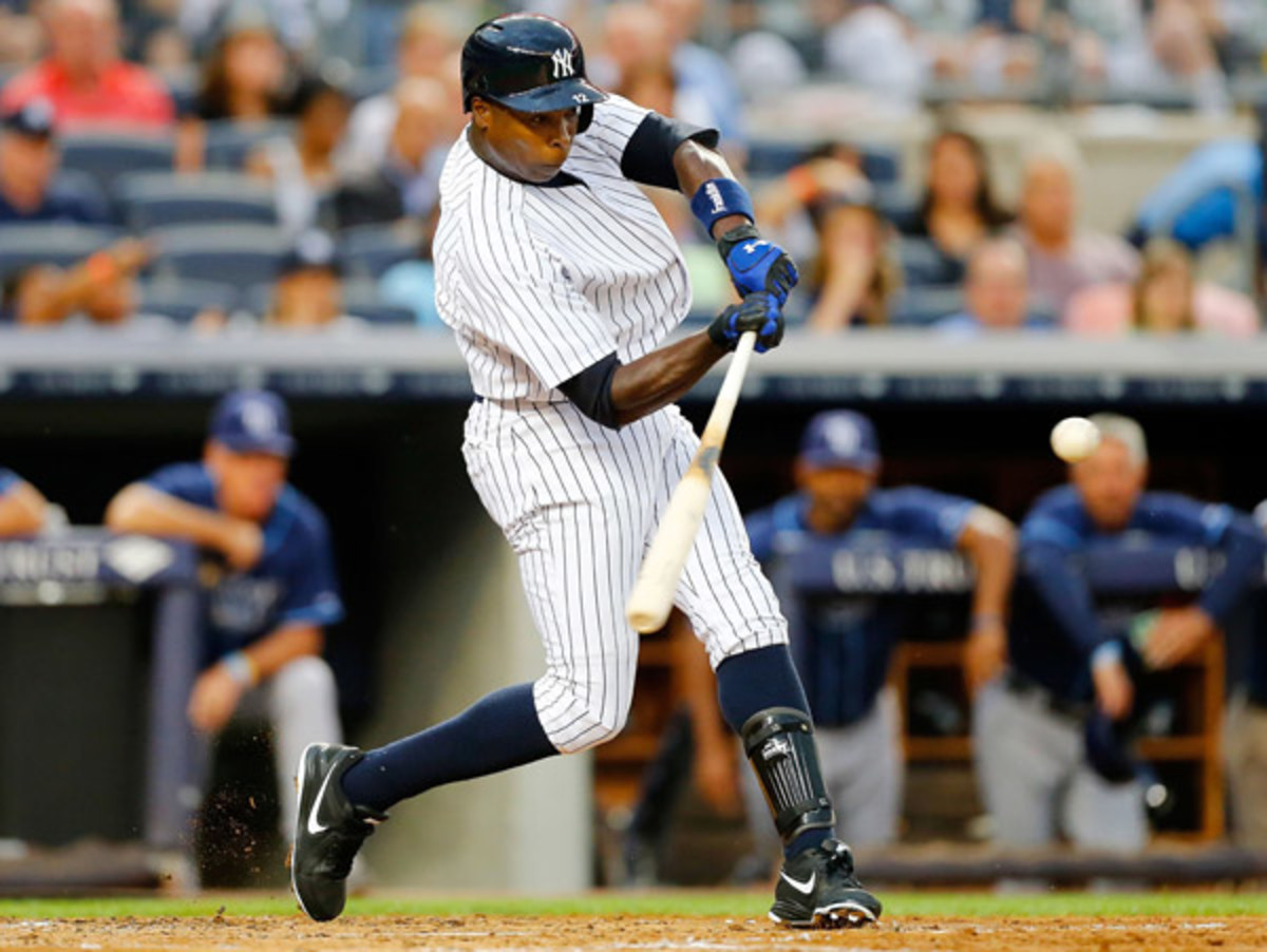 Alfonso Soriano went 0-5 in his return to the Yankees on Friday night. (Jim McIsaac/Getty Images)