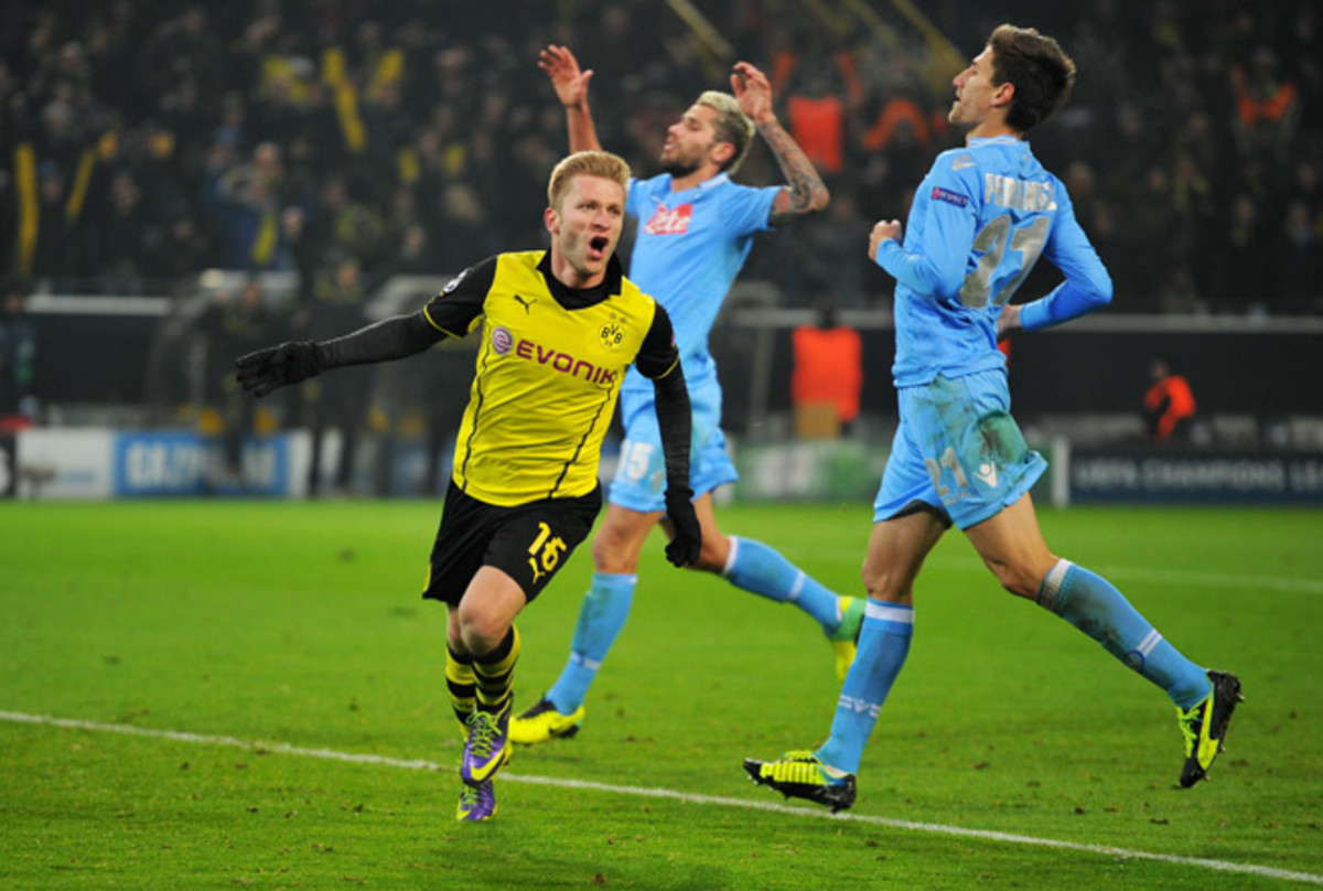 Jakub Blaszczykowski celebrates his goal in Borussia Dortmund's vital Champions League victory over Napoli Tuesday.