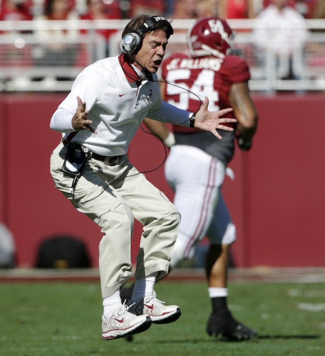 Nick Saban is seen here in a moment of mild fury. (AP)