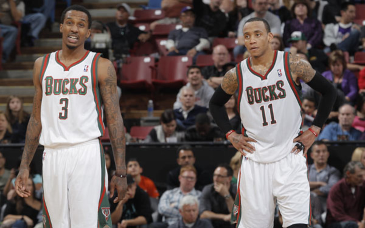The Bucks may prefer to re-sign Monta Ellis (r.) over Brandon Jennings. (Rocky Widner/National Basketball)