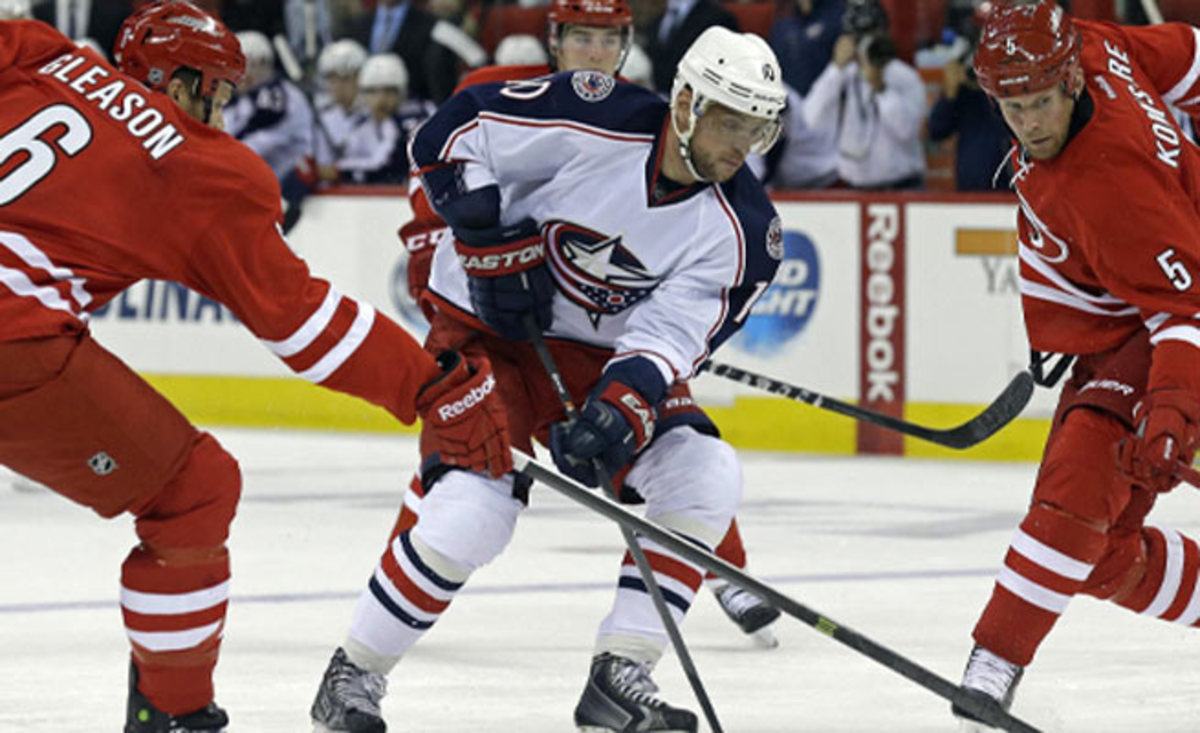 Marian Gaborik picked up three points against the Hurricanes, including two goals for the Jackets.