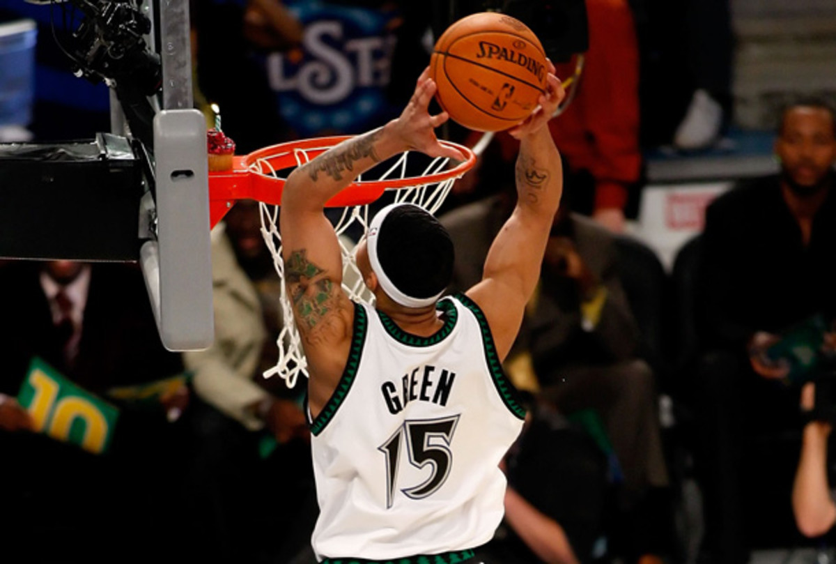 "Gerald Green executed the famous ""Cupcake Dunk"" in 2008 and is one of the favorites in 2013 Slam Dunk Contest. (Chris Graythen/Getty Images)"