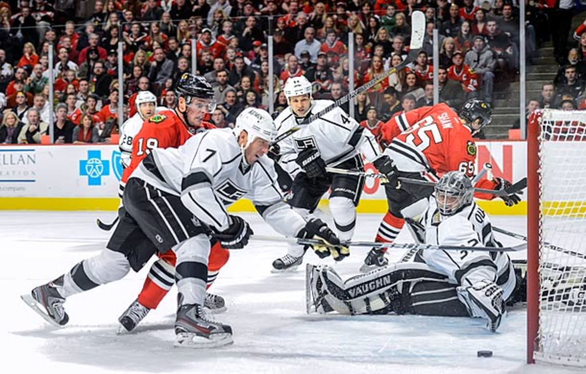 Jonathan Toews leads the Chicago Blackhawks against Jonathan Quick and the Los Angeles Kings in the 2013 NHL Western Conference Finals.