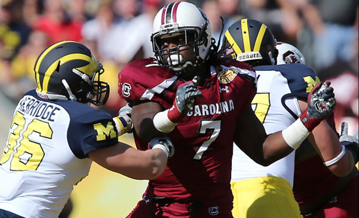Jadeveon Clowney has 21 sacks and 35.5 tackles for loss in two seasons at South Carolina. (Jim Dedmon/Icon SMI)