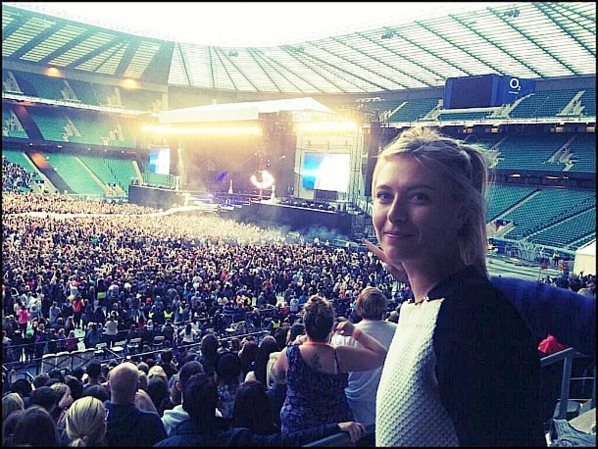 Maria Sharapova at a Rihanna Concert at Twickenham Stadium in London. (Photo from @MariaSharapova)
