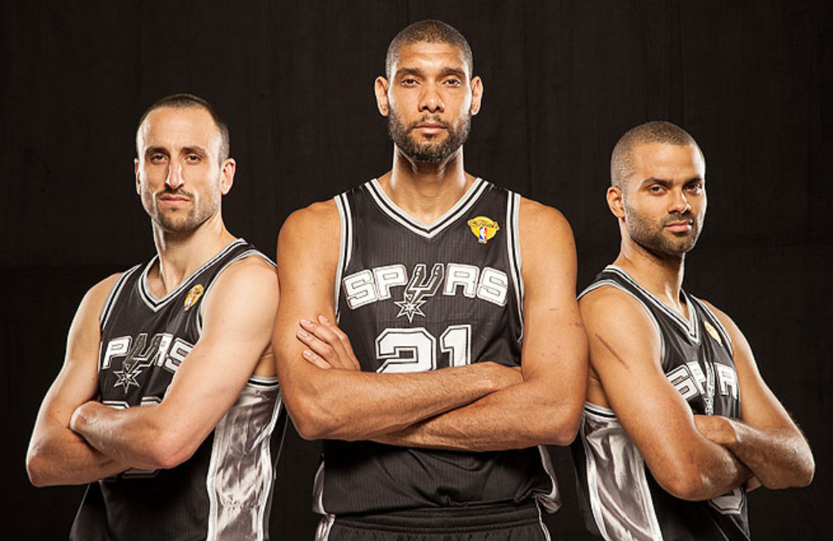 The Spurs' Manu Ginobili (from left), Tim Duncan and Tony Parker will make their fourth Finals appearance together this week.