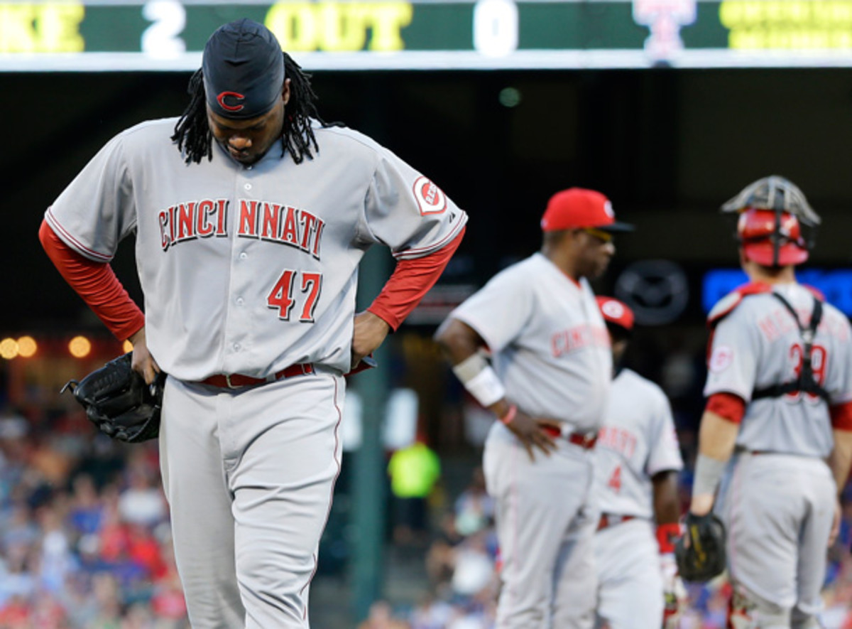 Johnny Cueto's injury struggles continued on Friday, as he had to leave his start in the second inning. [AP]