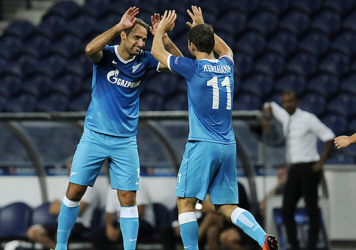 Roman Shirokov (left) netted a treble against Pacos Ferreira to lift Zenit St. Petersburg to victory.