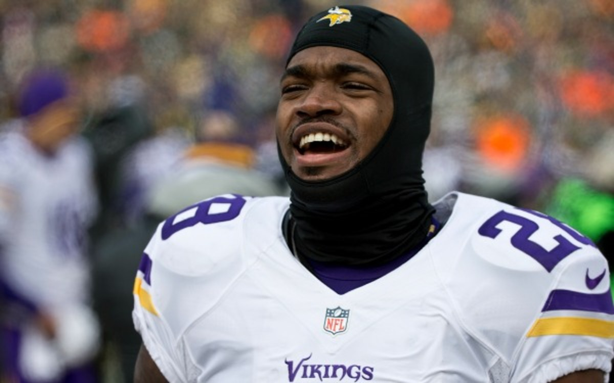 """Coach Frazier announced Peterson will be listed as """"doubtful"""" for Sunday's game. (Tom Dahlin/Getty Images)"""