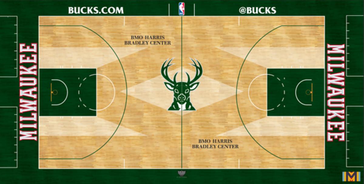 The Milwaukee Bucks unveiled a new court design on Tuesday. (Bucks)