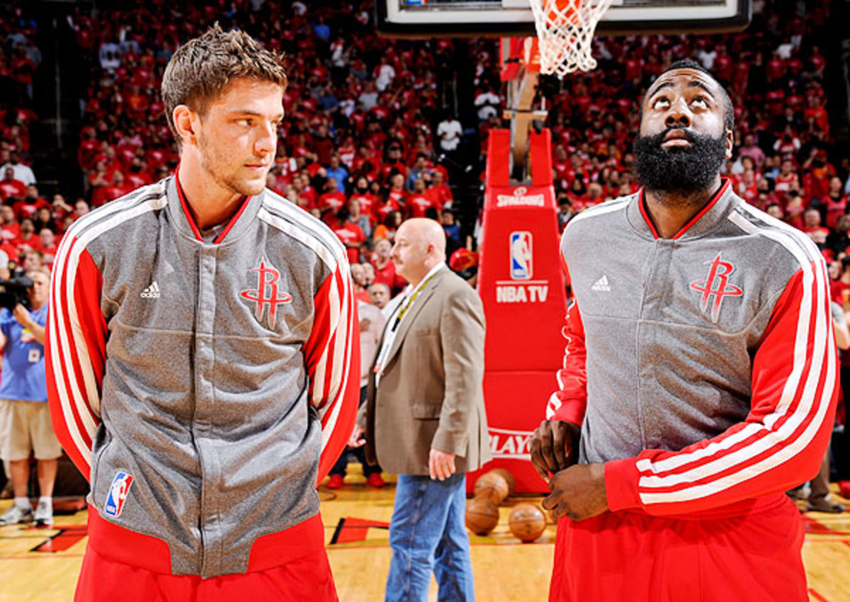 Chandler Parsons (left) played a key role in recruiting Dwight Howard to Houston.