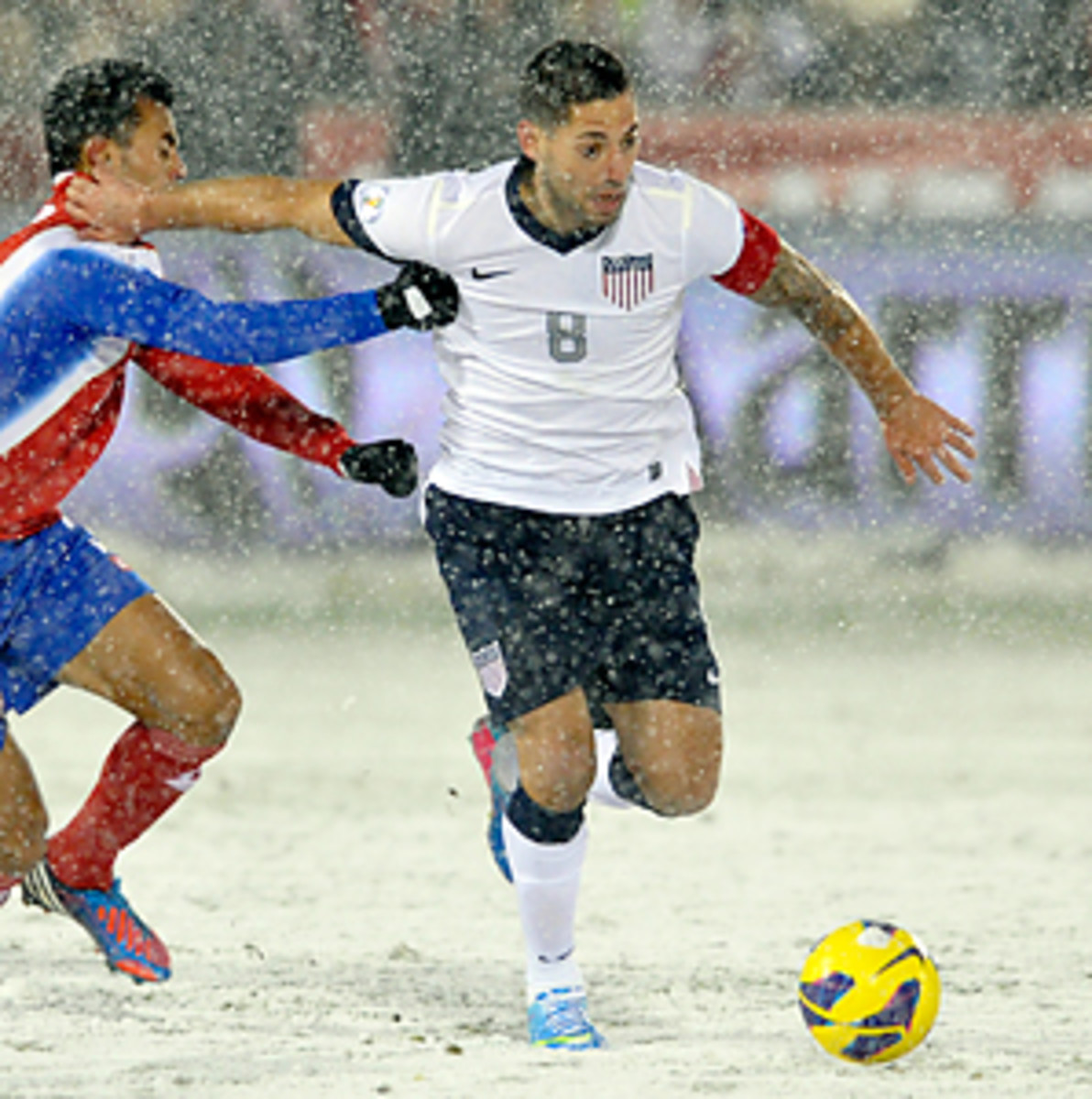 Clint Dempsey scored the only goal in the United States' World Cup qualifier win over Costa Rica, played in a snow storm in Colorado.