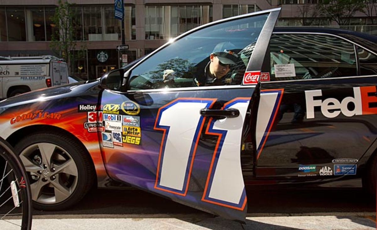 Denny Hamlin's mission at Talladega is simple but crucial: run safely to the first caution, then get out.
