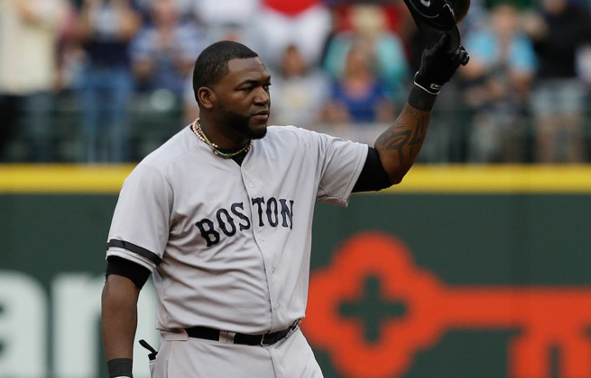 David Ortiz acknowledges the crowd after collecting his 1,689th career hit as a designated hitter.