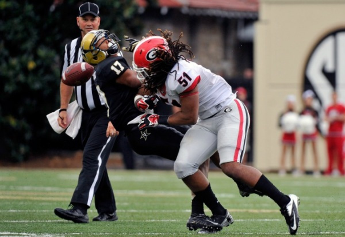 Georgia linebacker Ramik Wilson was penalized for targeting against Vanderbilt. (Frederick Breedon/Getty Images)