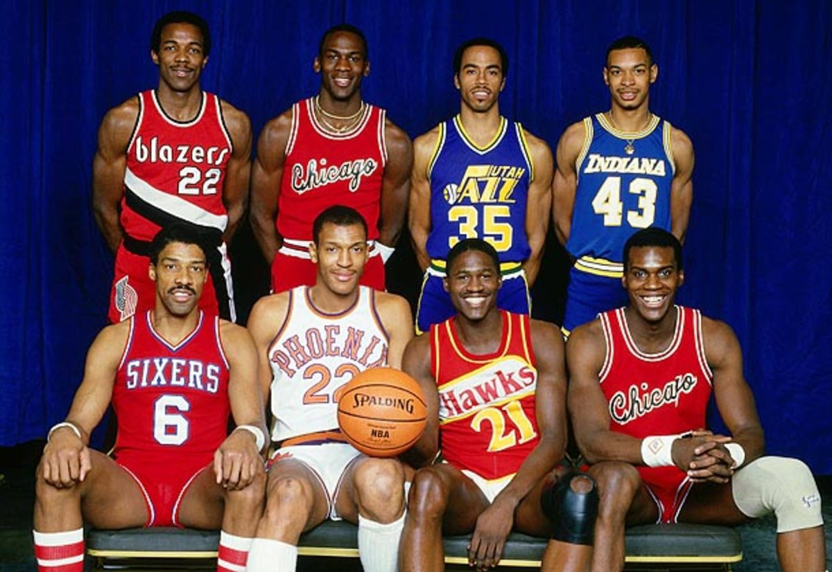 The 1985 dunk contest featured (clockwise from top left) Clyde Drexler, Michael Jordan, Darrell Griffith, Terence Stansbury, Orlando Woolridge, Dominique Wilkins, Larry Nance and Julius Erving. (Andrew D. Bernstein/NBAE via Getty Images)
