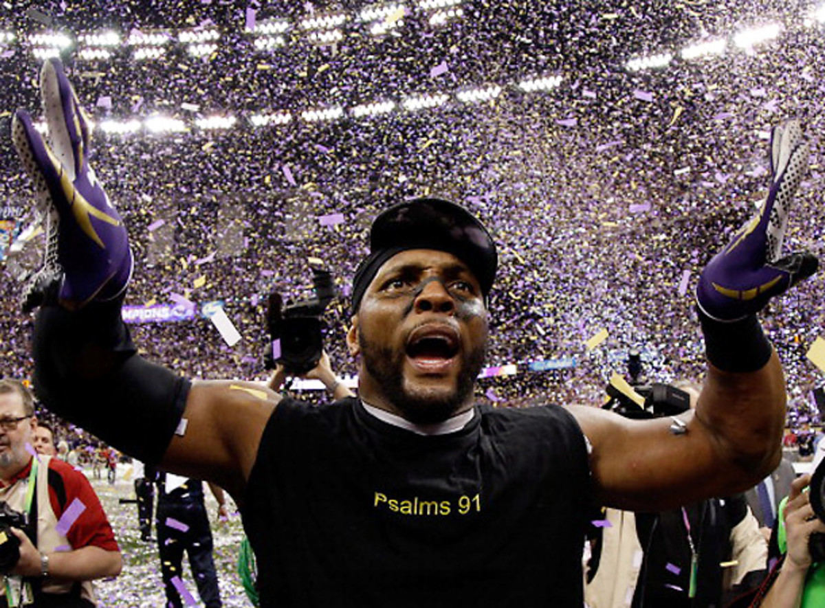 Ray Lewis was able to celebrate after the Super Bowl, but he isn't convinced the blackout was an accident. [Ezra Shaw/Getty Images]