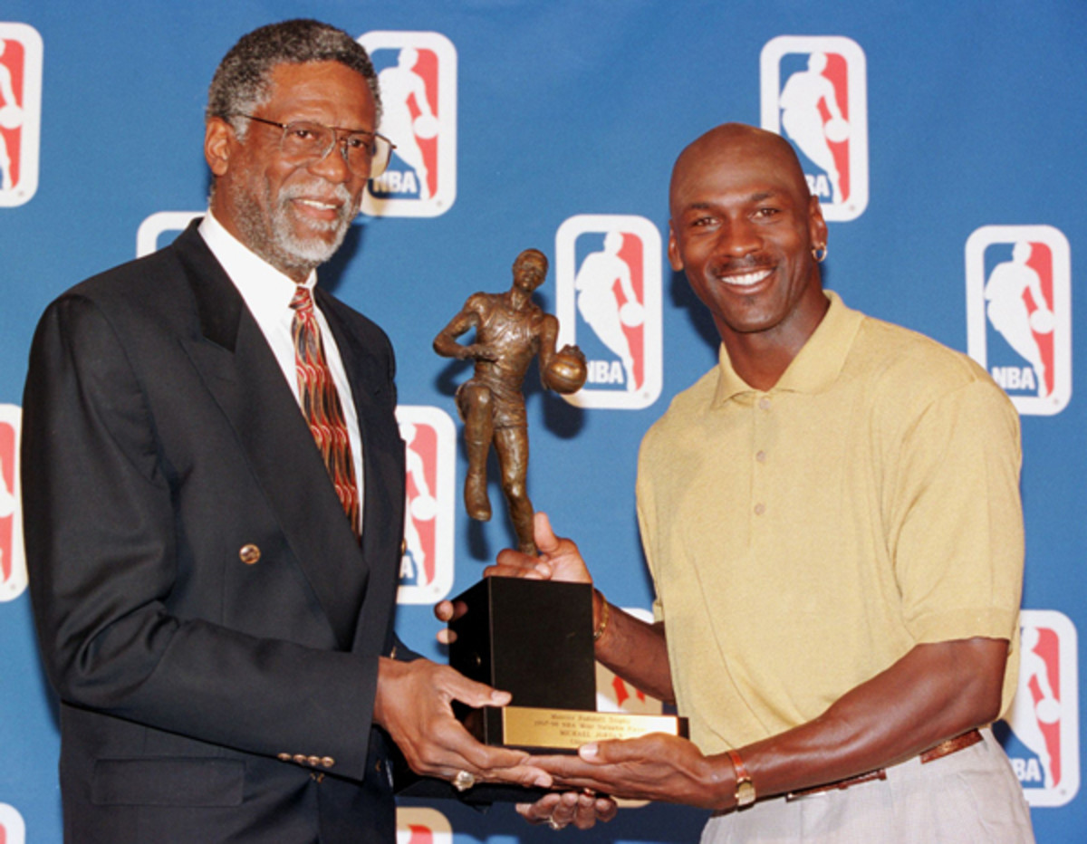 Phil Jackson would take Bill Russell (left) over Michael Jordan if given the choice. (Jeff Haynes AFP/Getty)