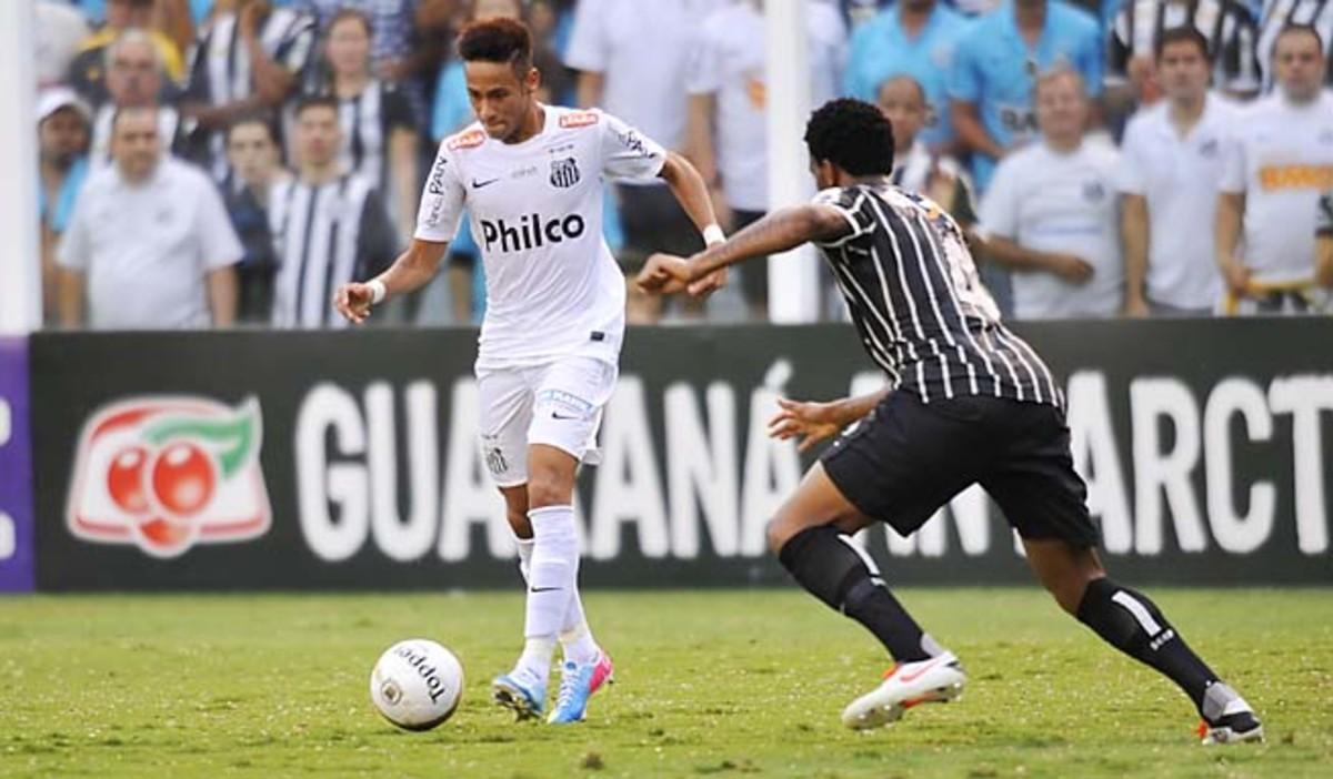 Brazilian forward Neymar (left) will join FC Barcelona for the next five seasons.