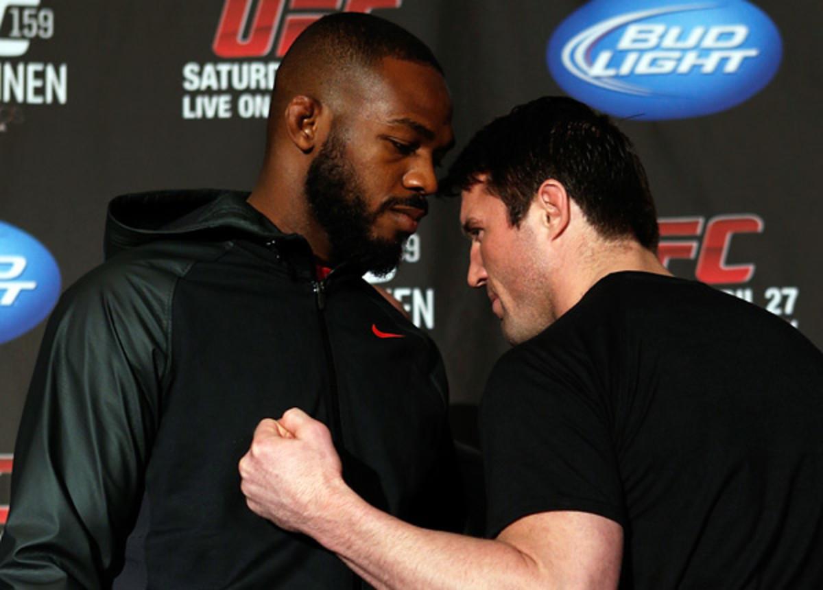 Chael Sonnen (right) is considered a heavy underdog against Jon Jones . (Josh Hedges/Zuffa LLC via Getty Images)