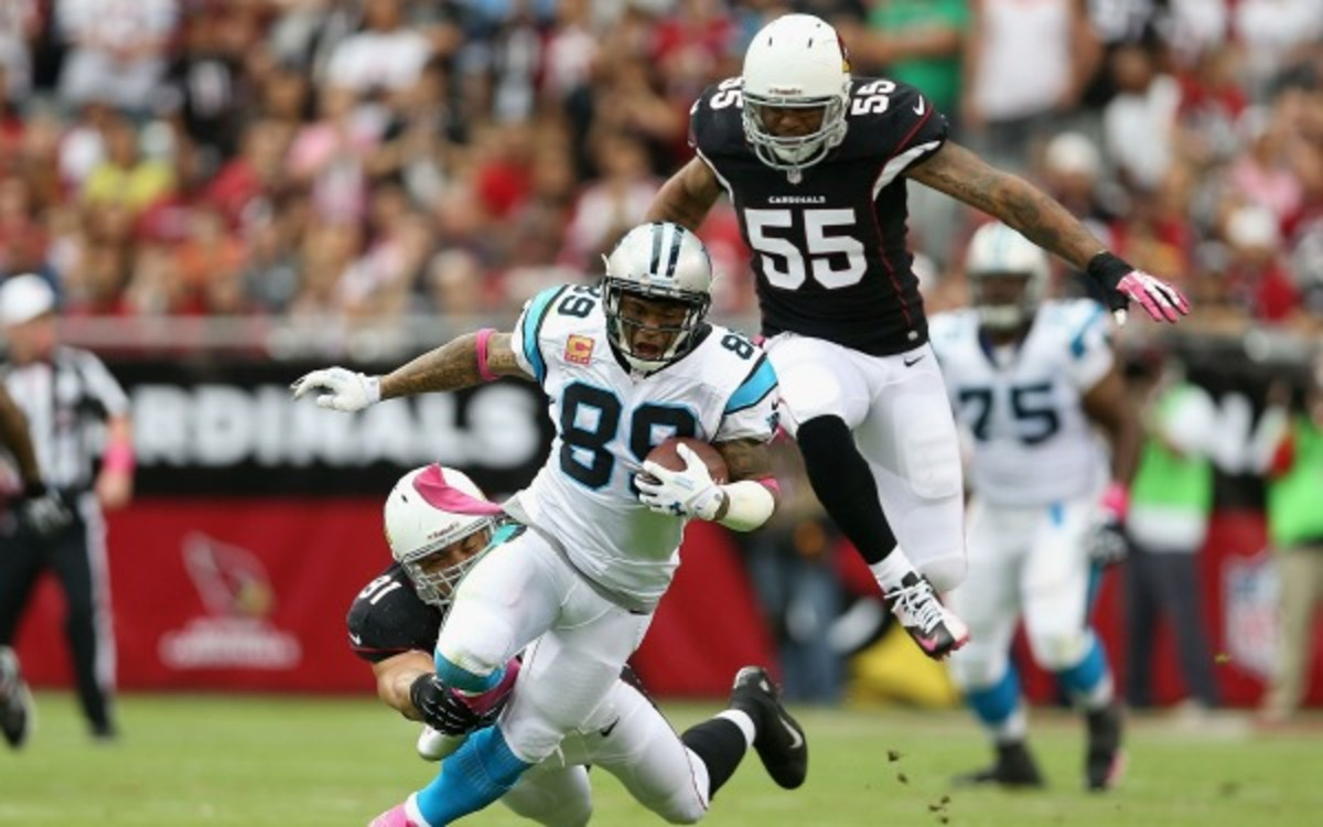 Steve Smith has 63 receptions for the Panthers this season. (Christian Petersen/Getty Images)