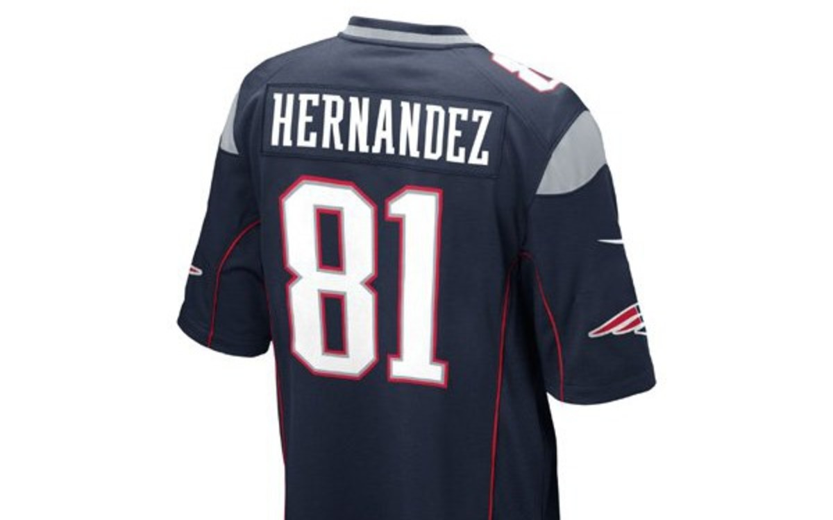A shop will offer free exchange of Aaron Hernandez jerseys next weekend. (Courtesy PatriotsProShop.com)