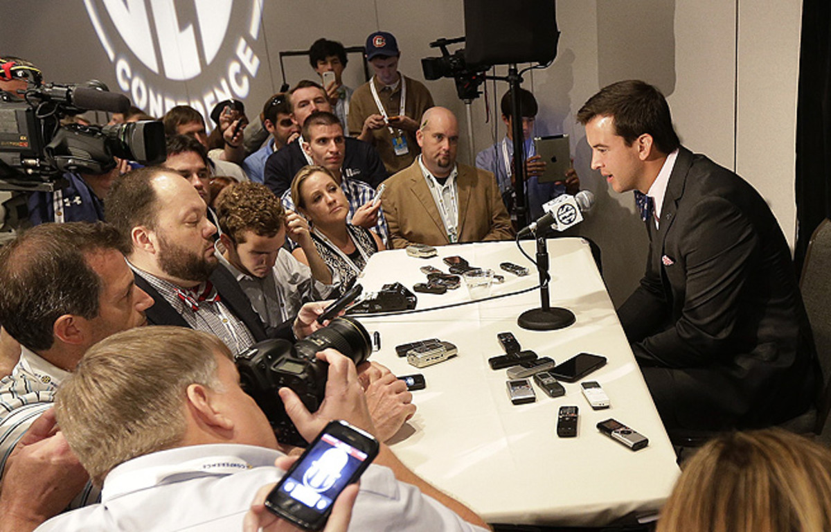 AJ McCarron remained mum when he received an onslaught of questions about Johnny Manziel.