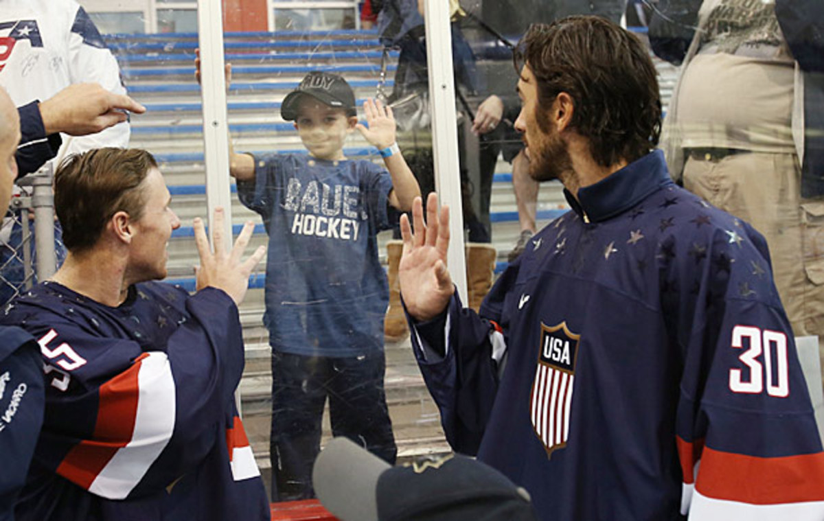 Goaltenders Jimmy Howard and Ryan Miller at USA Hockey's Olympic Orientation Camp.