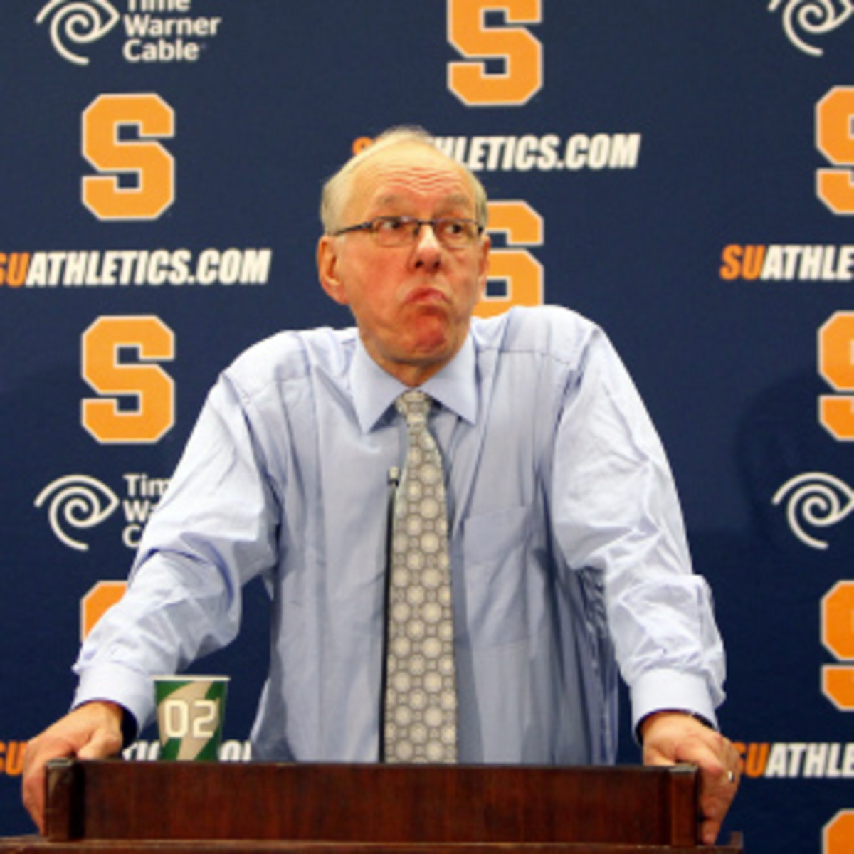 Jim Boeheim ripped into ESPN's Andy Katz following the Orange's loss to the Huskies. (Nate Shron/Getty Images)