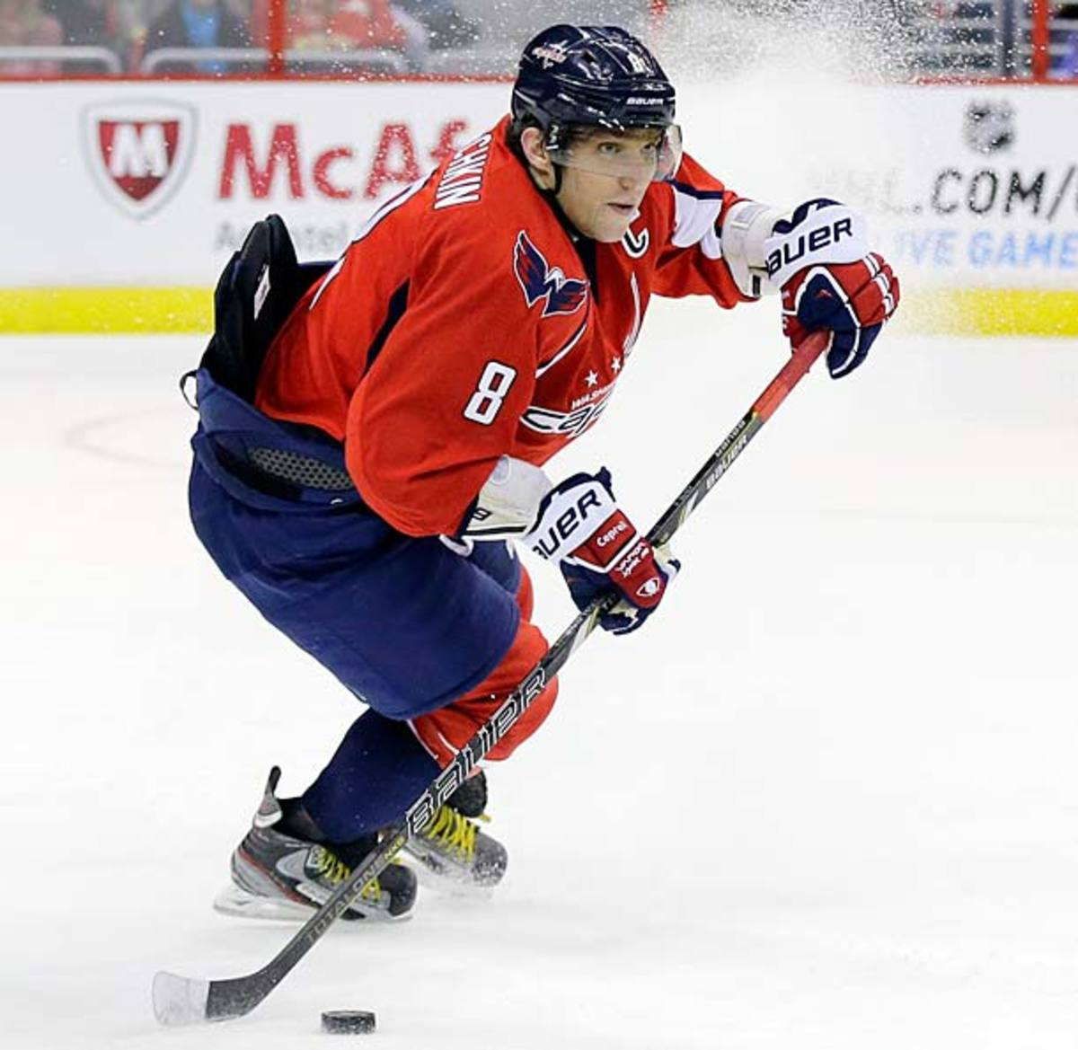 Alex Ovechkin of the Washington Capitals tucks in his jersey.