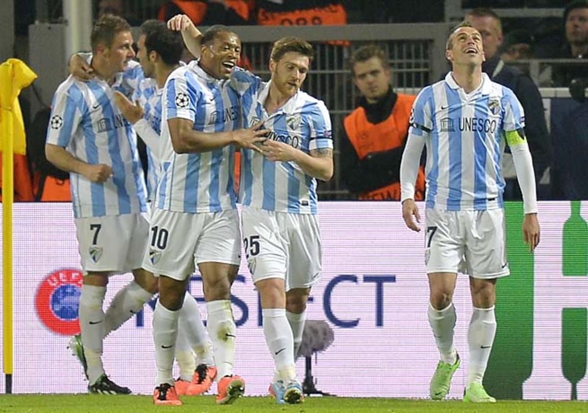 Malaga reached the Champions League quarterfinals, falling to Borussia Dortmund.