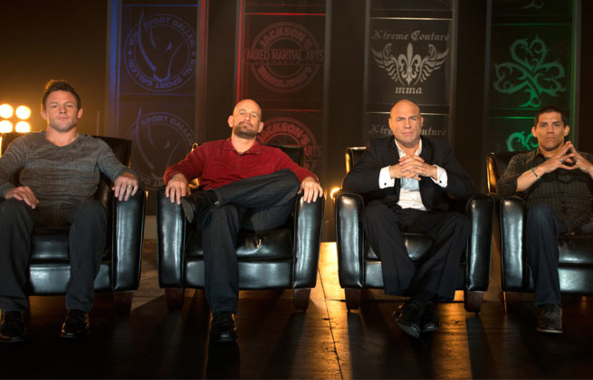 Former featherweight champ Joe Warren (left) holds his own against MMA's coaching elite on 'Bellator MMA: Fight Master.'